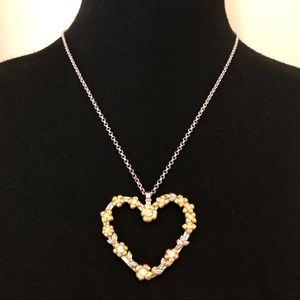 Brighton Gold Silver Floral Open Heart Necklace